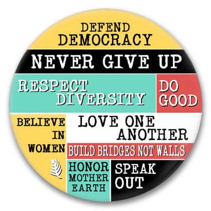 defend democracy collage button