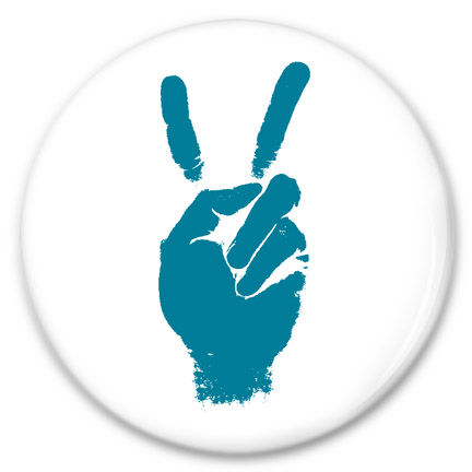 two finger peace sign button