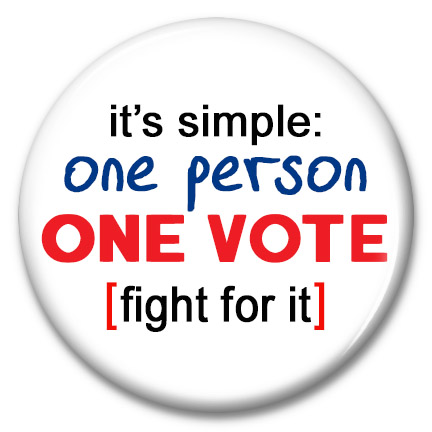 it's simple: one person one vote [fight for it] button
