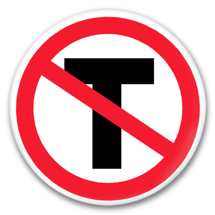 no sign T button