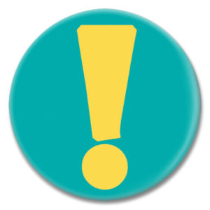 "2.25"" pinback button of a yellow exclamation point"