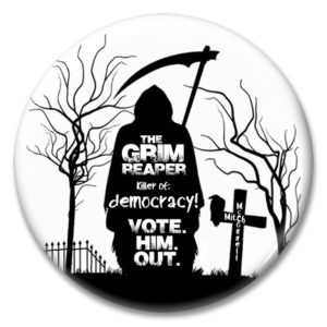 "2.25"" pinback button silhouette of grim reaper mitch mcconnell in graveyard"