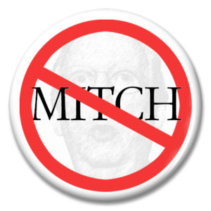 pinback button with mitch mcconnell's face and name behind a no sign