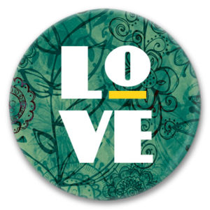 love tag on a green floral background button