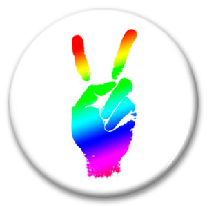 rainbow peace fingers button