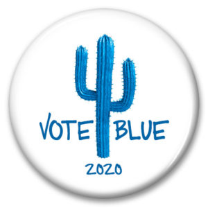 blue arizona cactus vote blue 2020 pinback button