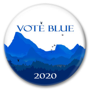 colorado mountains vote blue 2020 pinback button