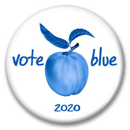 georgia peach vote blue 2020pinback button