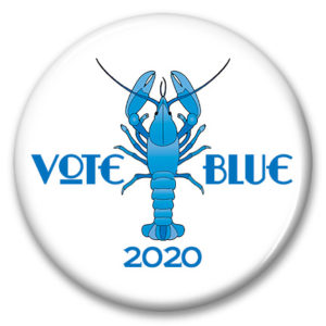 main lobster vote blue 2020 pinback button
