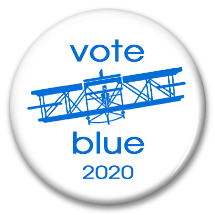 ohio biplane vote blue 2020 pinback button