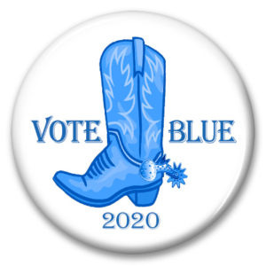 texas vote blue 2020 pinback button