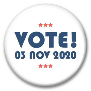 vote nov 3 2020 political pinback button