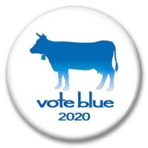 wisconsin cow vote blue pinback button